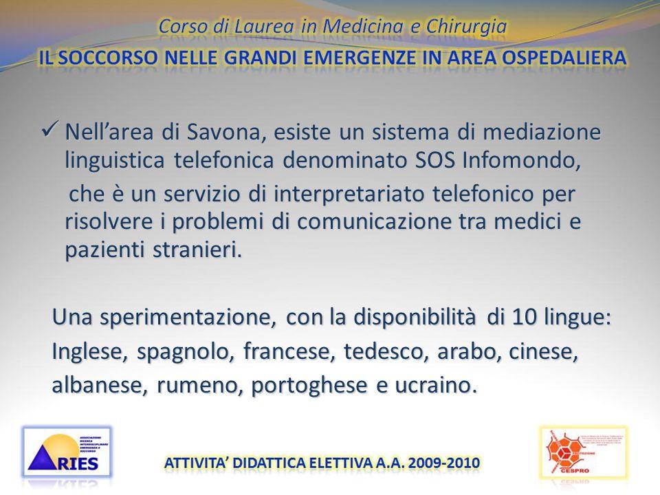 Nell'area di Savona, esiste un sistema di mediazione linguistica telefonica denominato SOS Infomondo,