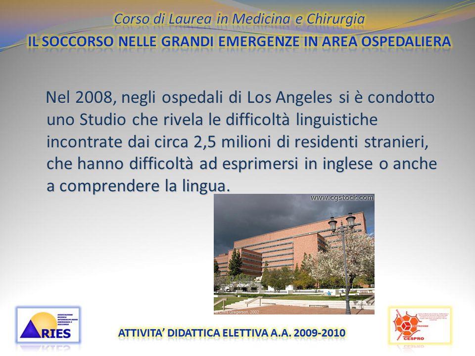 Nel 2008, negli ospedali di Los Angeles si è condotto uno Studio che rivela le difficoltà linguistiche incontrate dai circa 2,5 milioni di residenti stranieri, che hanno difficoltà ad esprimersi in inglese o anche a comprendere la lingua.