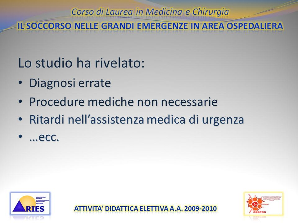 Lo studio ha rivelato: Diagnosi errate
