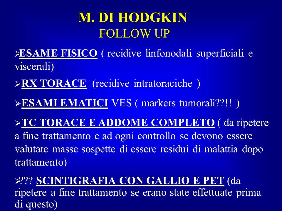 M. DI HODGKIN FOLLOW UPESAME FISICO ( recidive linfonodali superficiali e viscerali) RX TORACE (recidive intratoraciche )