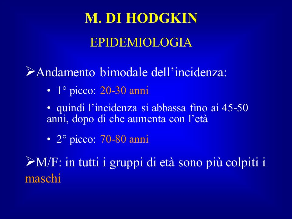 Andamento bimodale dell'incidenza: