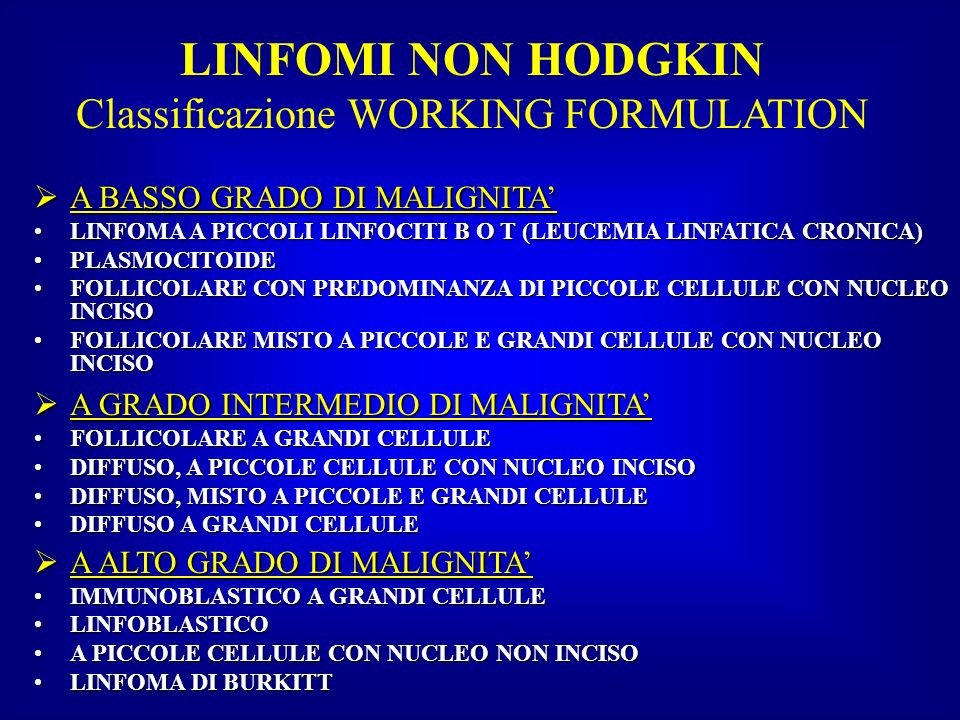 Classificazione WORKING FORMULATION