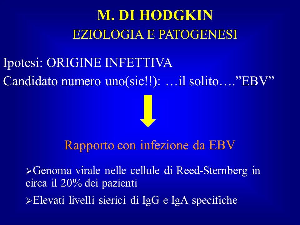 M. DI HODGKIN EZIOLOGIA E PATOGENESI Ipotesi: ORIGINE INFETTIVA
