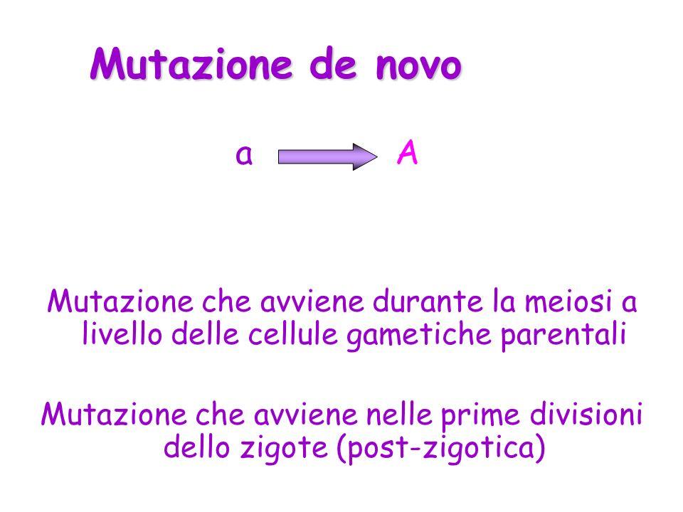 Mutazione de novo a. A. Mutazione che avviene durante la meiosi a livello delle cellule gametiche parentali.