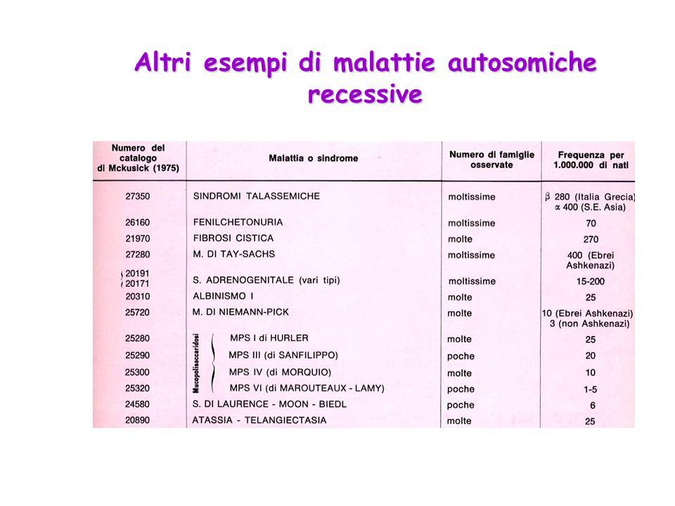 Altri esempi di malattie autosomiche recessive