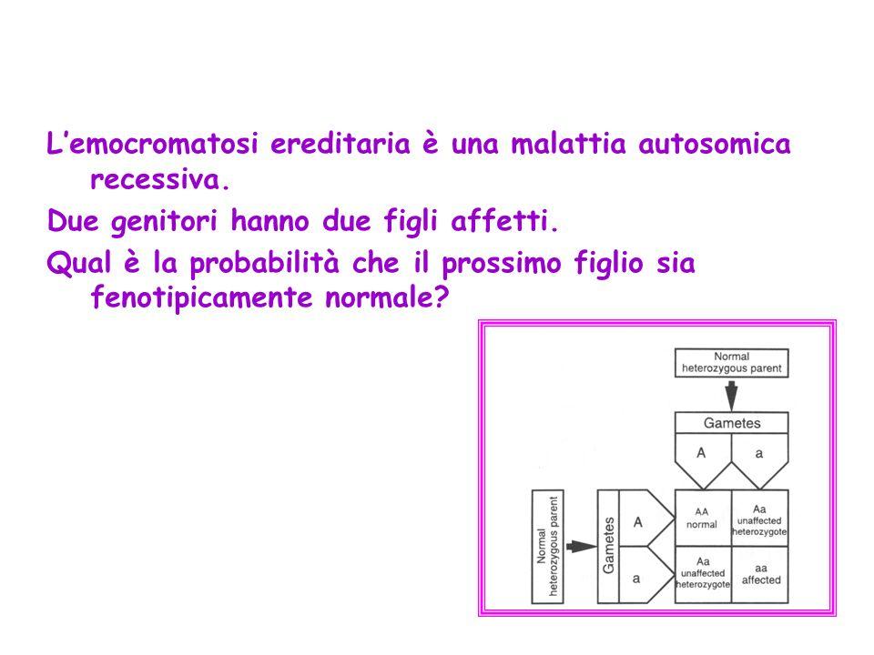 L'emocromatosi ereditaria è una malattia autosomica recessiva.