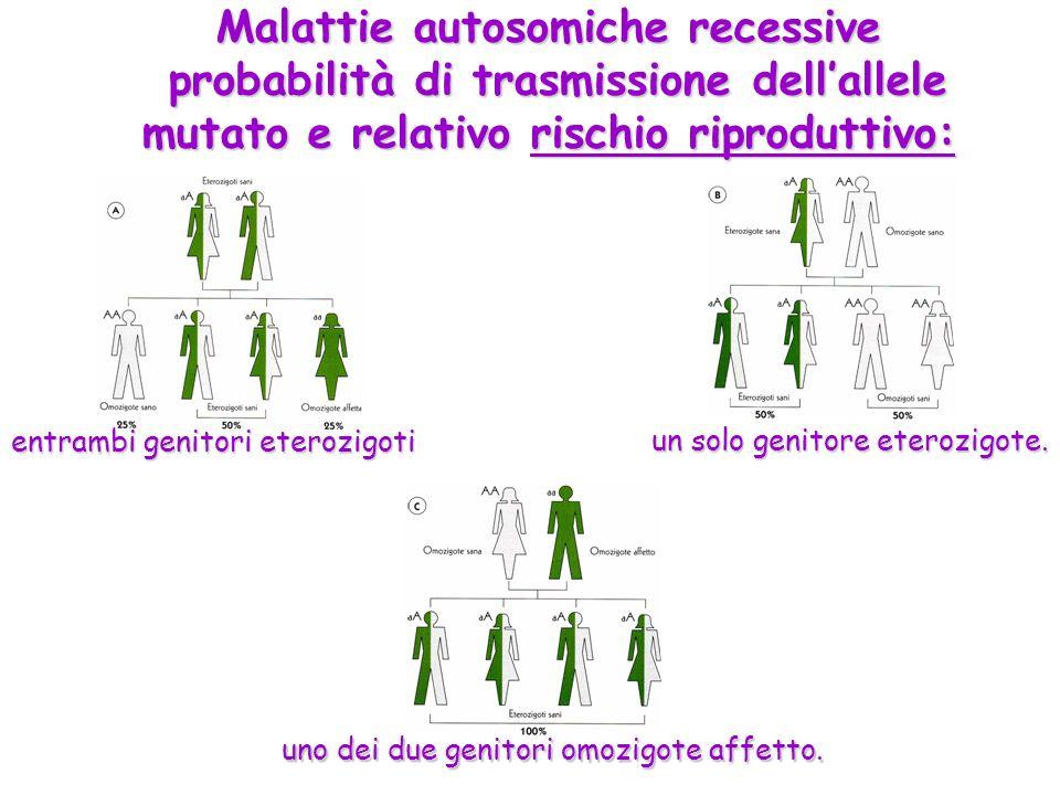 Malattie autosomiche recessive probabilità di trasmissione dell'allele mutato e relativo rischio riproduttivo: