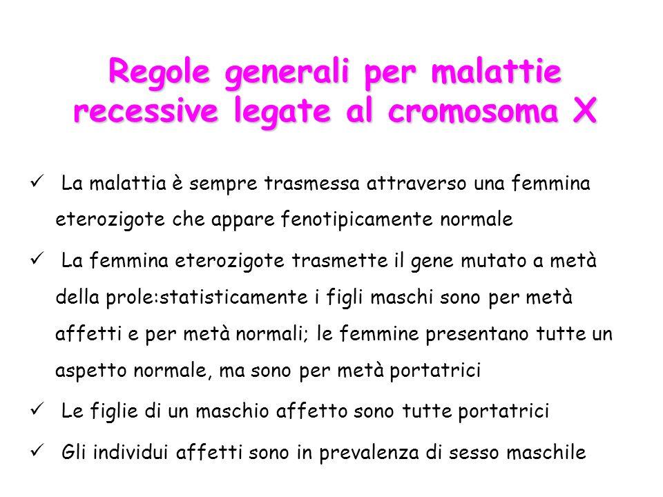 Regole generali per malattie recessive legate al cromosoma X