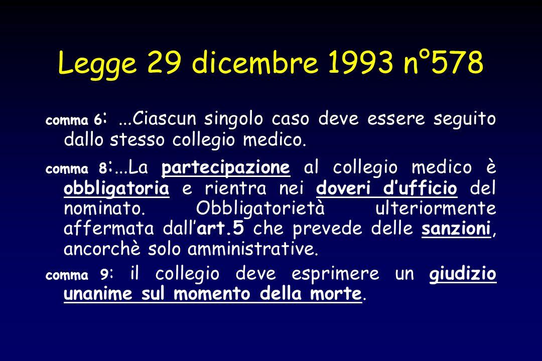 Legge 29 dicembre 1993 n°578 comma 6: …Ciascun singolo caso deve essere seguito dallo stesso collegio medico.