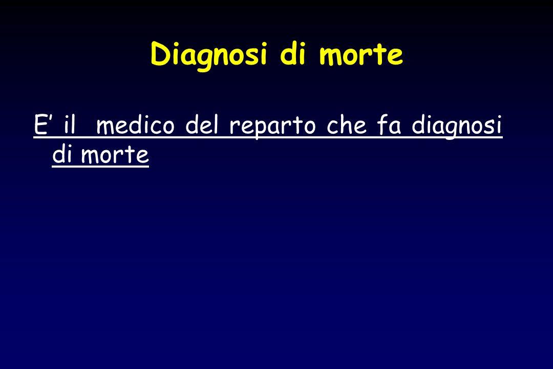 Diagnosi di morte E' il medico del reparto che fa diagnosi di morte