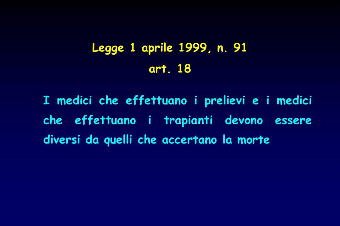 Legge 1 aprile 1999, n. 91 art. 18.