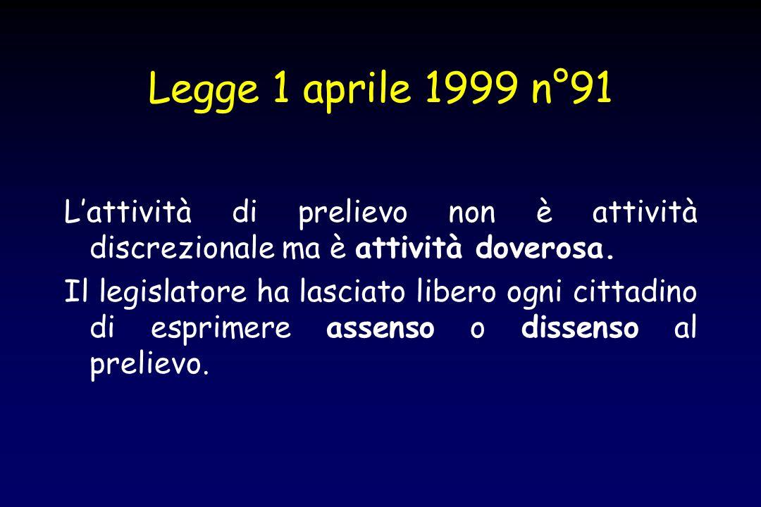 Legge 1 aprile 1999 n°91 L'attività di prelievo non è attività discrezionale ma è attività doverosa.