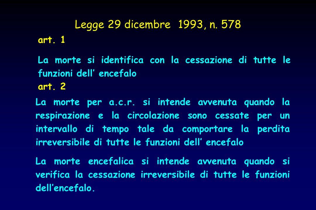 Legge 29 dicembre 1993, n. 578 art. 1. La morte si identifica con la cessazione di tutte le funzioni dell' encefalo.