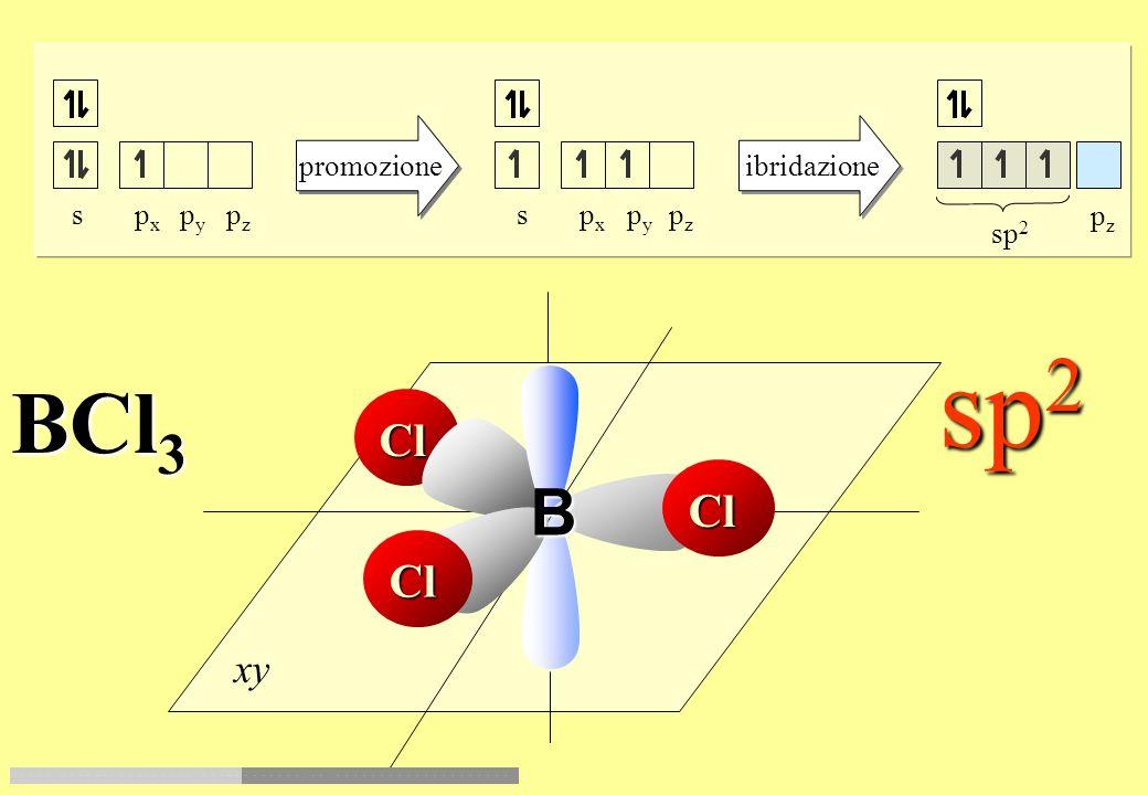sp2 BCl3 B Cl Cl Cl xy promozione ibridazione s px py pz s px py pz pz