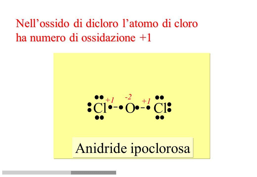 Cl O Cl Anidride ipoclorosa Nell'ossido di dicloro l'atomo di cloro