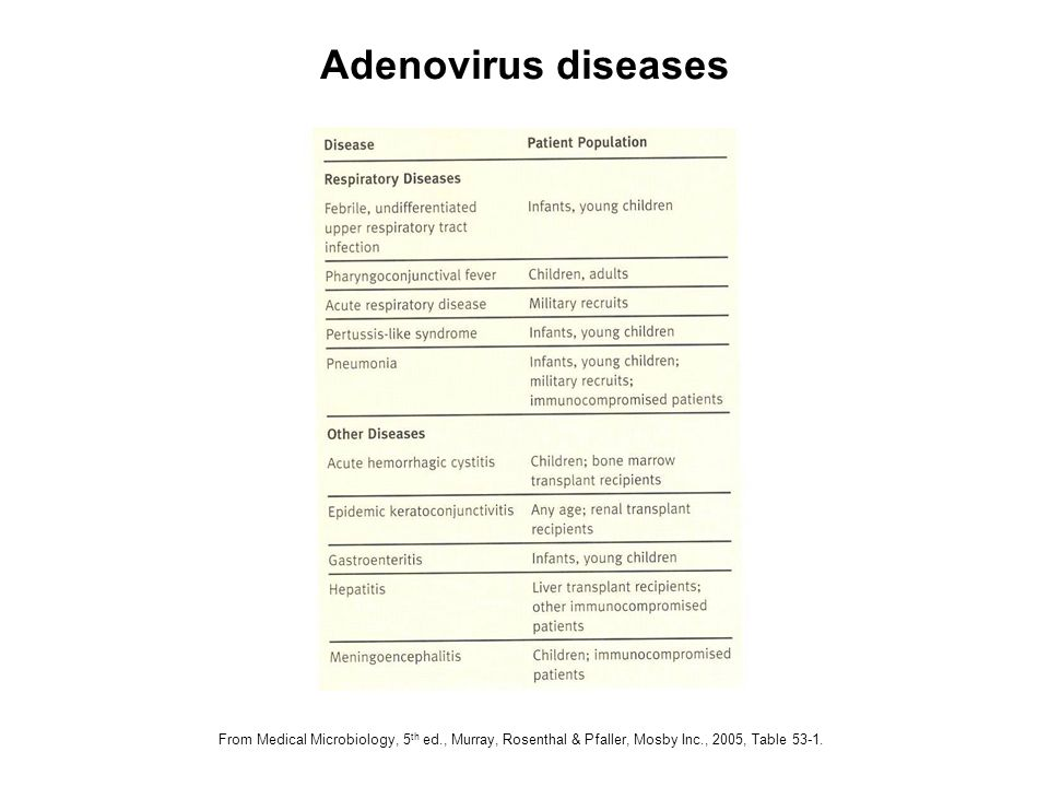 Adenovirus diseases From Medical Microbiology, 5th ed., Murray, Rosenthal & Pfaller, Mosby Inc., 2005, Table 53-1.