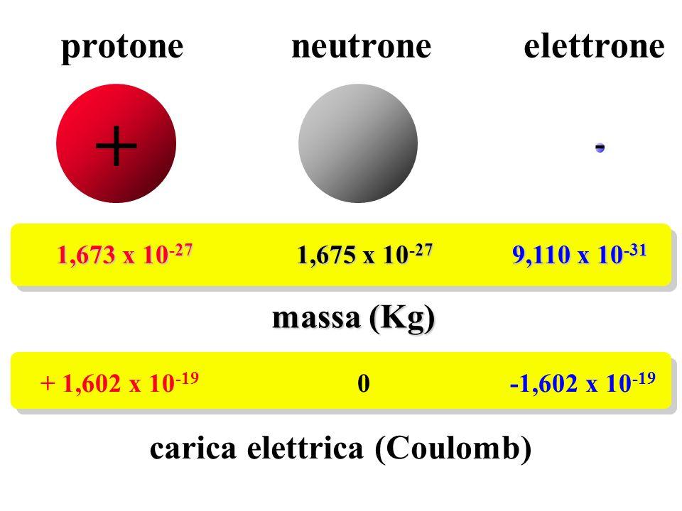 + protone neutrone elettrone massa (Kg) carica elettrica (Coulomb) -