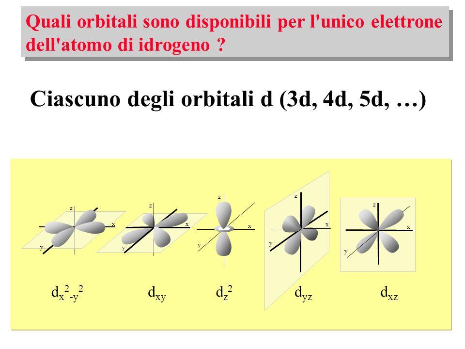 Ciascuno degli orbitali d (3d, 4d, 5d, …)
