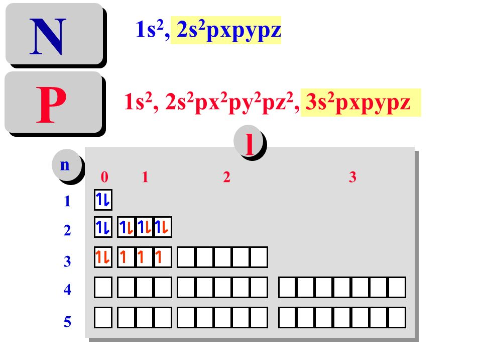 N 1s2, 2s2pxpypz P 1s2, 2s2px2py2pz2, 3s2pxpypz l n 1 2 3 1 2 3 4 5