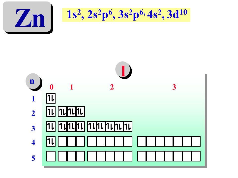 Zn 1s2, 2s2p6, 3s2p6, 4s2, 3d10 l n 1 2 3 1 2 3 4 5