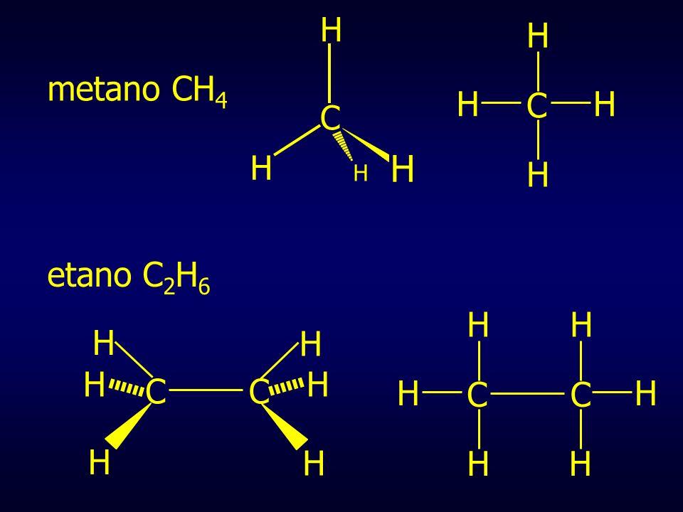 C H metano CH4 C H etano C2H6