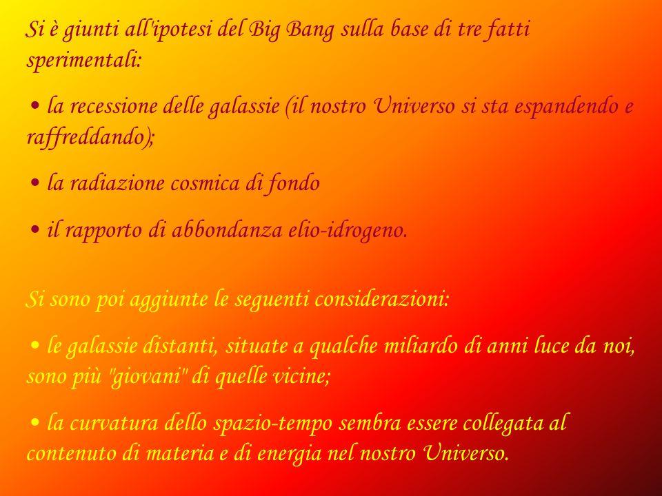 Si è giunti all ipotesi del Big Bang sulla base di tre fatti sperimentali: