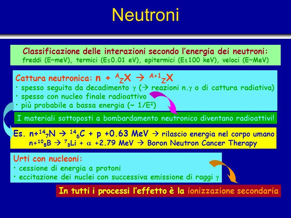 Classificazione delle interazioni secondo l'energia dei neutroni: