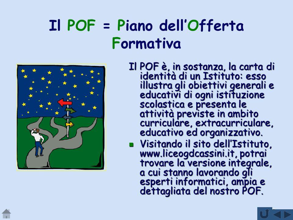 Il POF = Piano dell'Offerta Formativa