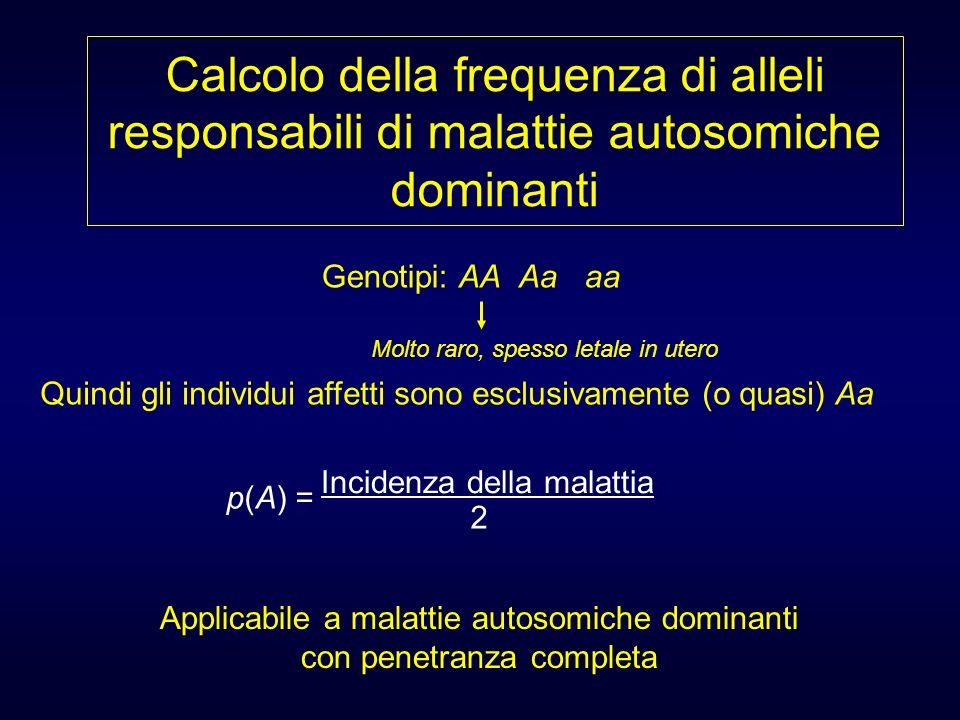 Calcolo della frequenza di alleli responsabili di malattie autosomiche dominanti