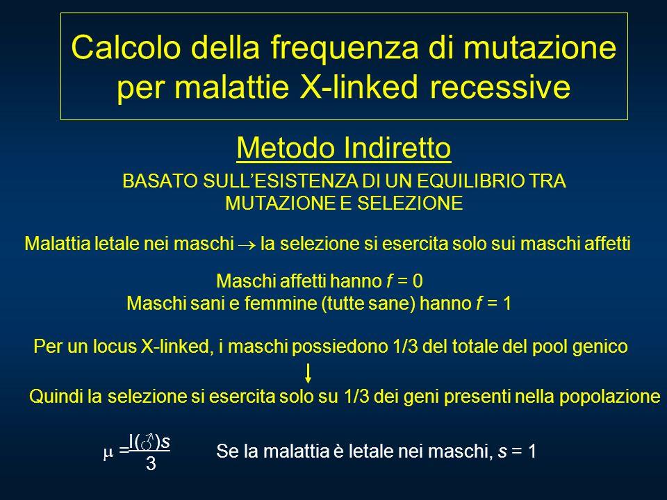 Calcolo della frequenza di mutazione per malattie X-linked recessive