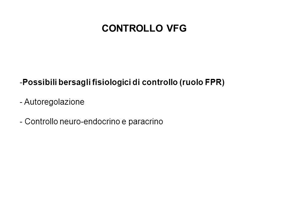 CONTROLLO VFG Possibili bersagli fisiologici di controllo (ruolo FPR)