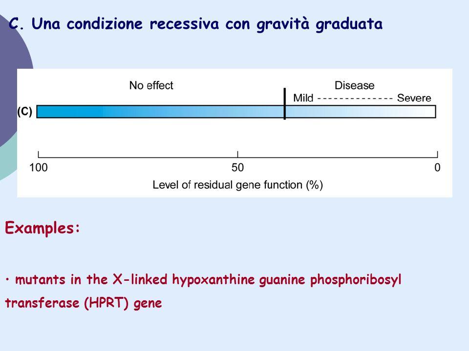 C. Una condizione recessiva con gravità graduata