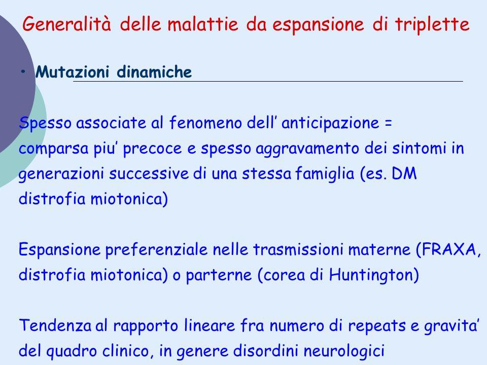 Generalità delle malattie da espansione di triplette