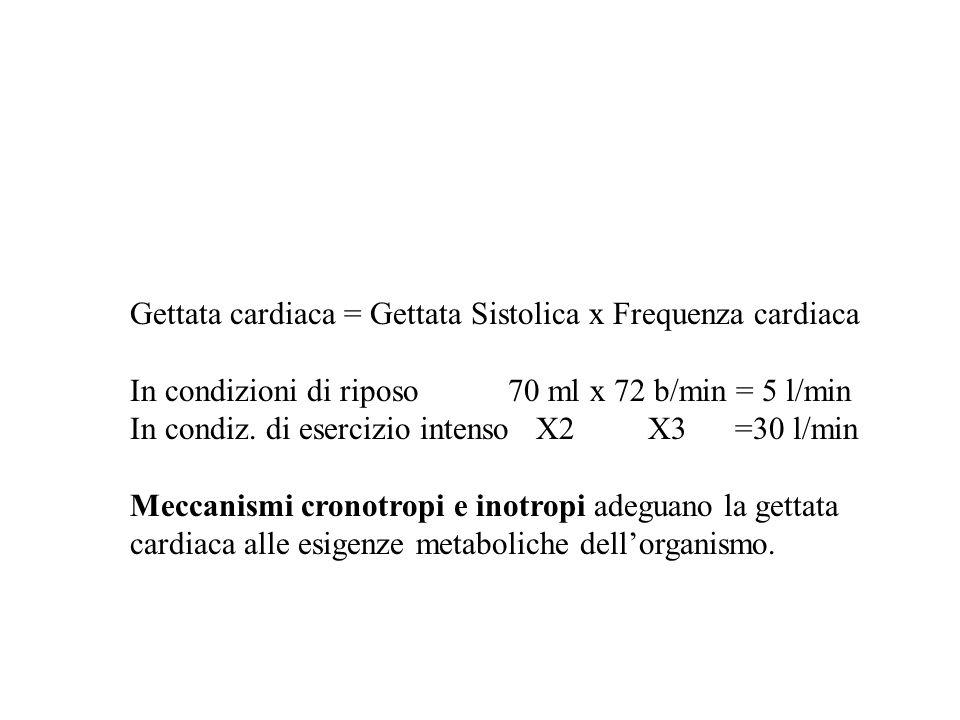 Gettata cardiaca = Gettata Sistolica x Frequenza cardiaca