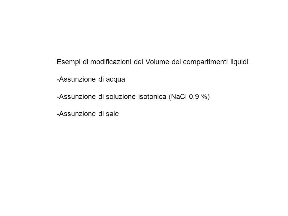 Esempi di modificazioni del Volume dei compartimenti liquidi