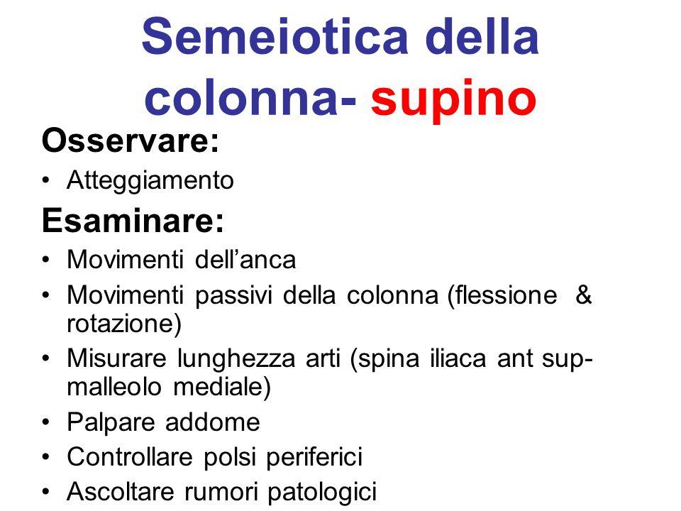 Semeiotica della colonna- supino