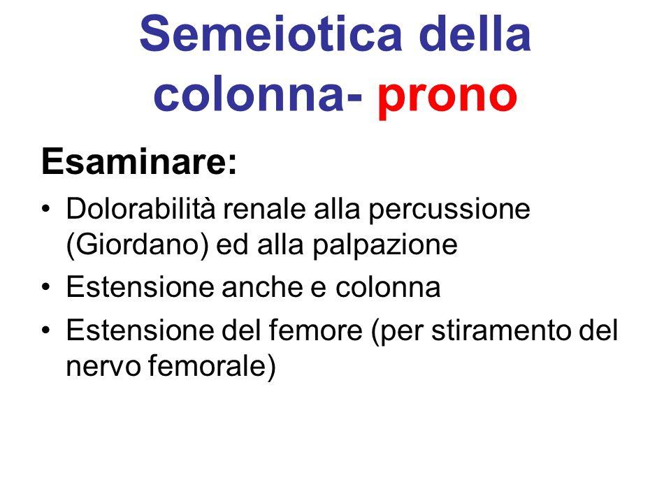 Semeiotica della colonna- prono