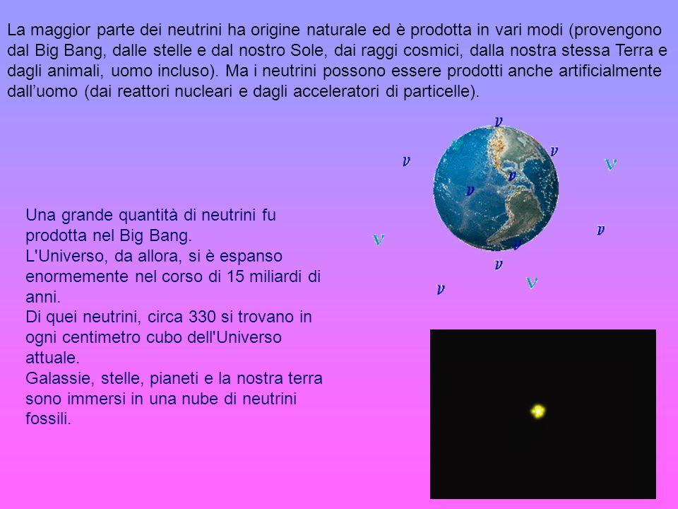 La maggior parte dei neutrini ha origine naturale ed è prodotta in vari modi (provengono dal Big Bang, dalle stelle e dal nostro Sole, dai raggi cosmici, dalla nostra stessa Terra e dagli animali, uomo incluso). Ma i neutrini possono essere prodotti anche artificialmente dall'uomo (dai reattori nucleari e dagli acceleratori di particelle).