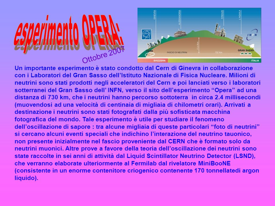 esperimento OPERA: Ottobre 2007