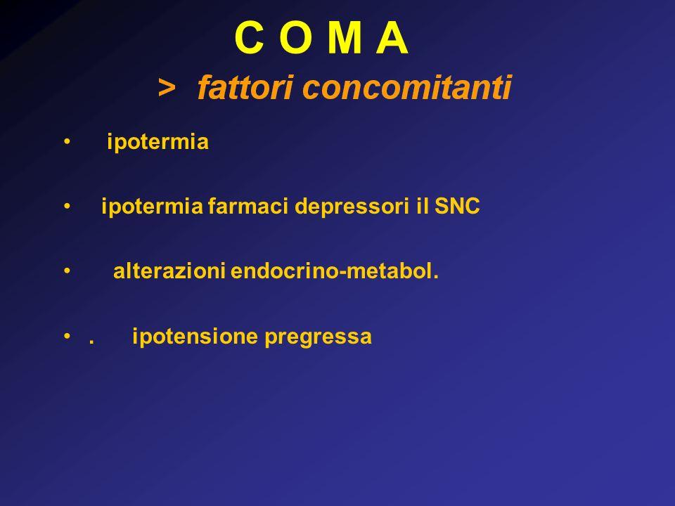 C O M A  ipotermia   ipotermia farmaci depressori il SNC