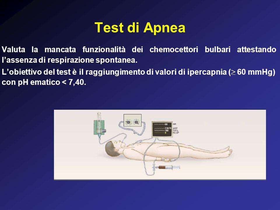 Test di Apnea Valuta la mancata funzionalità dei chemocettori bulbari attestando l'assenza di respirazione spontanea.