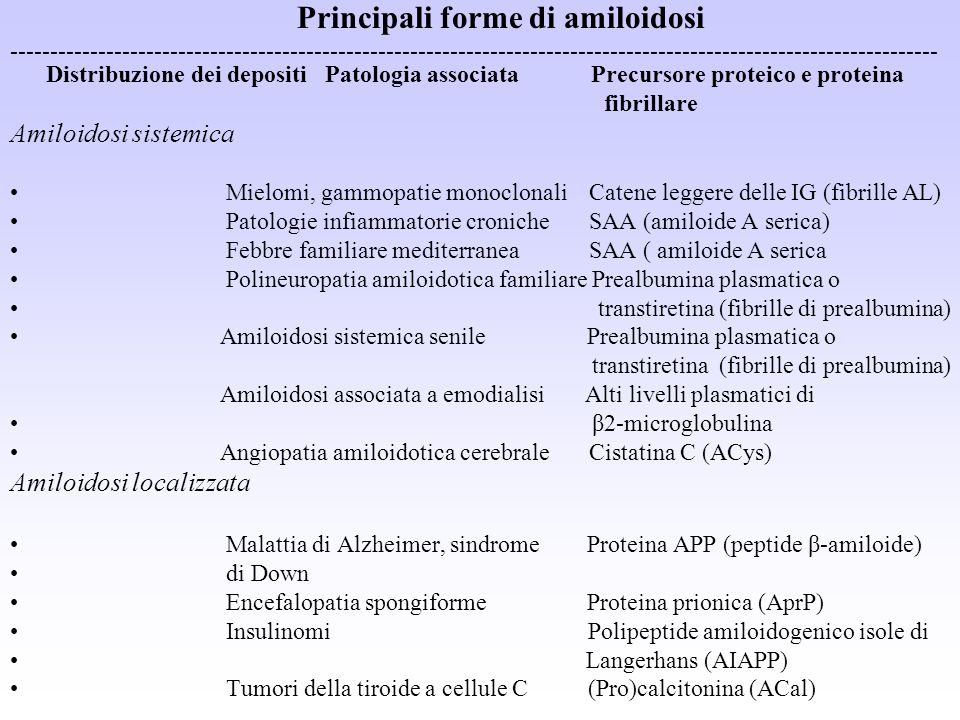 Principali forme di amiloidosi