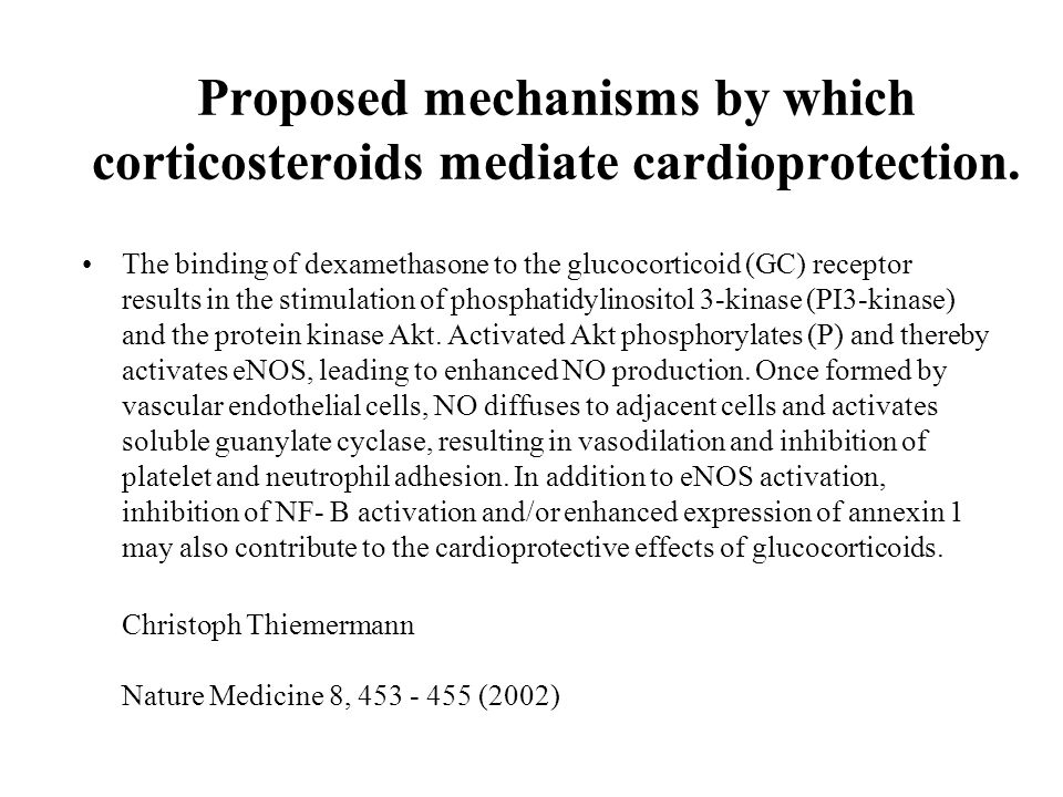 Proposed mechanisms by which corticosteroids mediate cardioprotection.