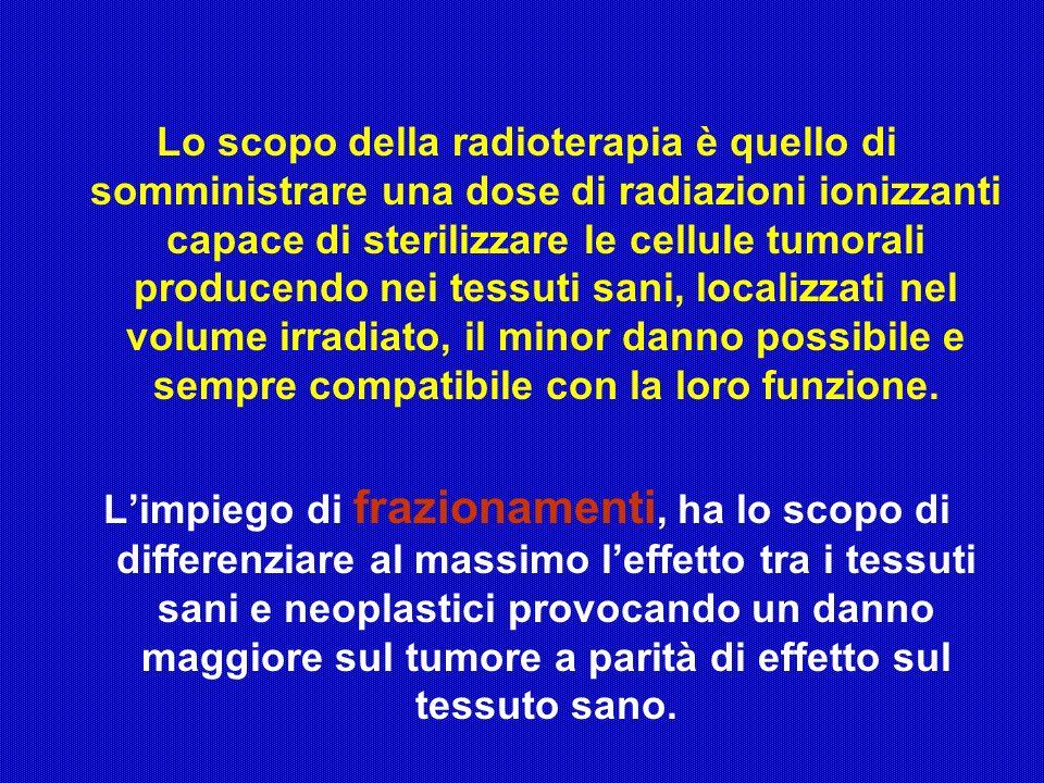 Lo scopo della radioterapia è quello di somministrare una dose di radiazioni ionizzanti capace di sterilizzare le cellule tumorali producendo nei tessuti sani, localizzati nel volume irradiato, il minor danno possibile e sempre compatibile con la loro funzione.