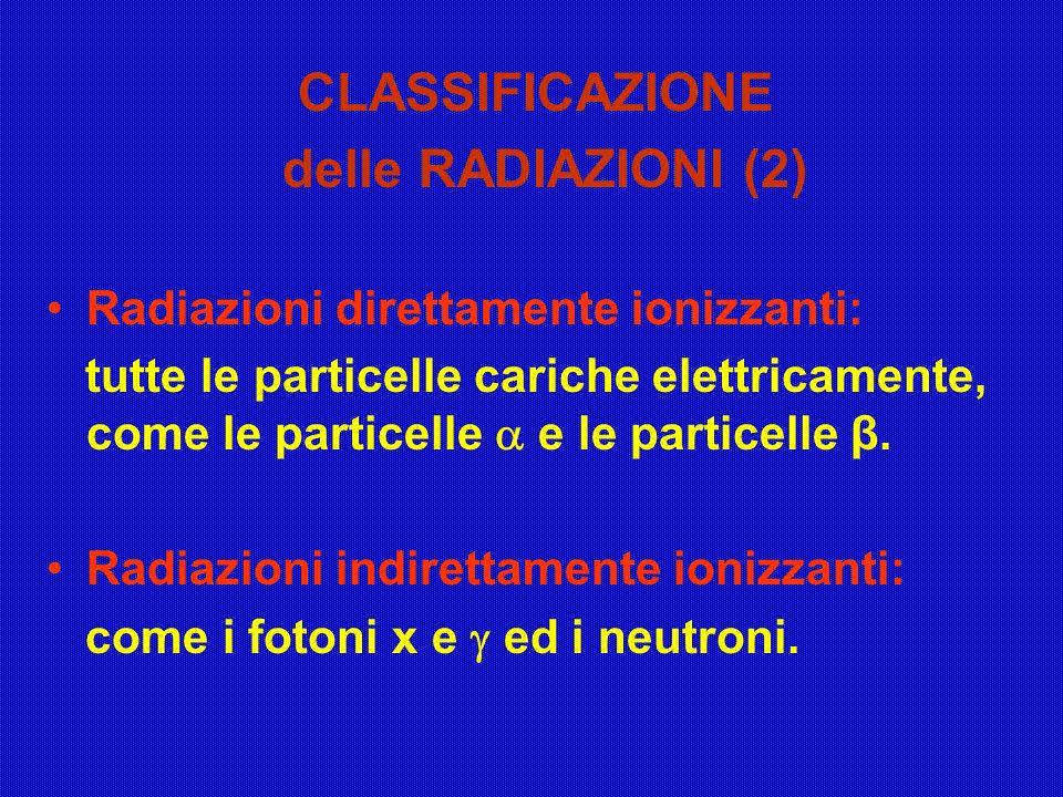CLASSIFICAZIONE delle RADIAZIONI (2)