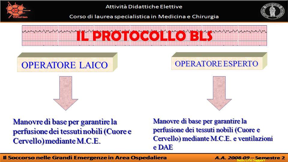 IL PROTOCOLLO BLS OPERATORE LAICO OPERATORE ESPERTO