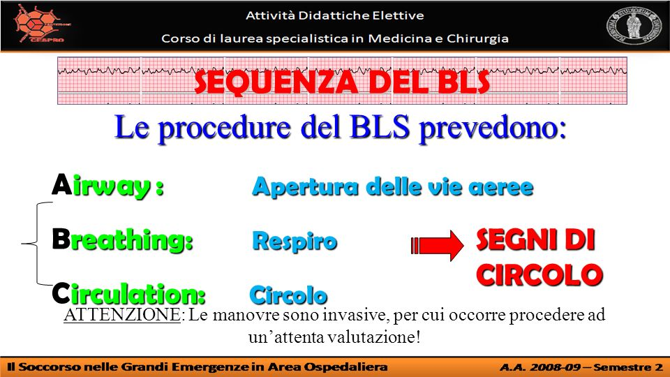 Le procedure del BLS prevedono: