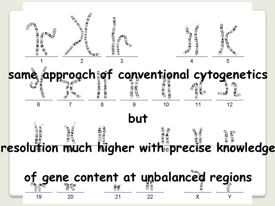 same approach of conventional cytogenetics