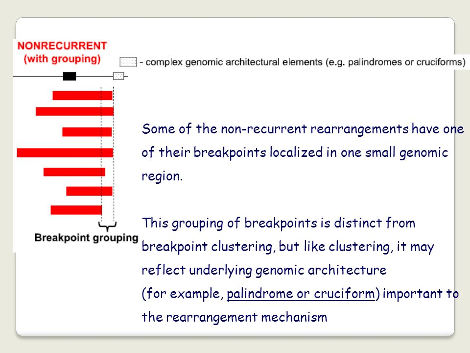 Some of the non-recurrent rearrangements have one of their breakpoints localized in one small genomic region.