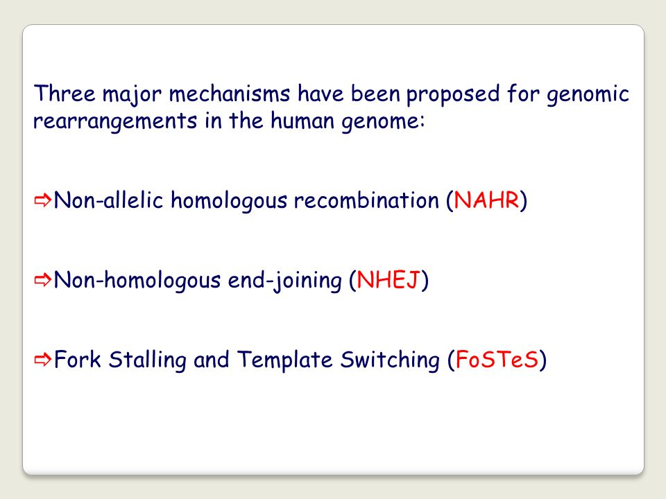 Three major mechanisms have been proposed for genomic rearrangements in the human genome: